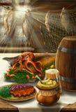 La vie toujours sur le thème de mer avec la nourriture Photo stock