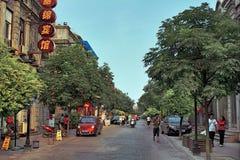 La vie urbaine dans la ville de Wuhan, la Chine Images stock