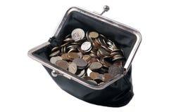 La vieille bourse avec des pièces de monnaie photos stock