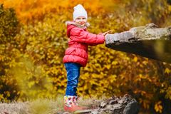 La vieille fille de cinq ans de sourire dans la veste sur le jaune d'automne laisse le fond image stock