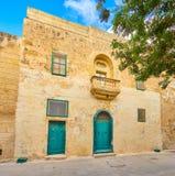 La vieille maison dans la forteresse de Mdina, Malte images libres de droits