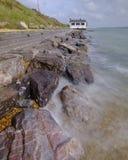 La vieille maison de montre de la garde côtière à Lepe sur la côte du Solent dans nouveau Forest National Park, R-U image stock