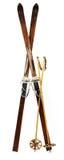 la vieille paire alpestre skie en bois Images libres de droits