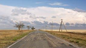 La vieille route de la steppe avec des arbres Image stock