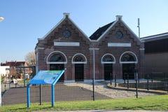 La vieille station de pompage de l'eau dans Gouderak a appelé Verdoold pour maintenir le polder Krimpenerwaard sec image stock