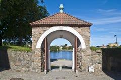 La vieille ville dans le fredrikstad (porte de ville) images libres de droits