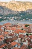La vieille ville de Kotor Les dessus de toit orange-carrelés de la ville SH Photo stock