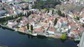 La vieille ville de Trebinje de l'air Photo stock