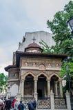 La vieja estructura de Stavropoleos de la iglesia (ciudad de la cruz) de Ioanichie Stratonikeas en 1724 Imagen de archivo