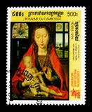 La Vierge de Martin van Niuwenhoven par H Memling, ` international du ` 98 de l'Italie de ` d'exposition de timbre - serie de Mil Photos stock