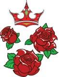la Vieux-école a dénommé le tatouage de trois roses rouges avec les feuilles vertes illustration stock