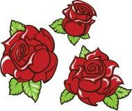 la Vieux-école a dénommé le tatouage de trois roses rouges avec les feuilles vertes illustration de vecteur