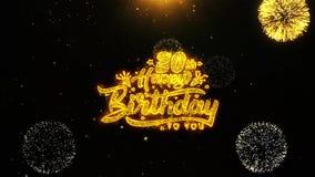 la vigésima tarjeta de felicitaciones de los deseos del feliz cumpleaños, invitación, fuego artificial de la celebración colocó stock de ilustración