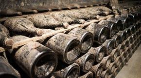 La vigne de Champagne met des actions en bouteille en sous-sol photographie stock libre de droits