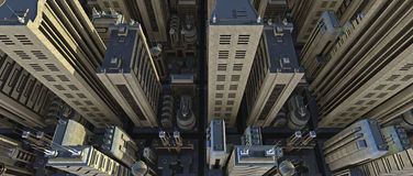 La ville au lever de soleil - le busi Images stock