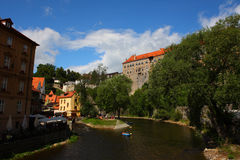 La ville célèbre, Cesky Krumlov Photos stock
