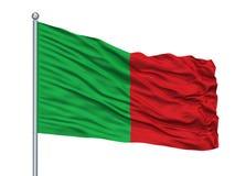 La Ville City Flag On Flagpole, Belgio dei Fosses, isolato su fondo bianco Royalty Illustrazione gratis
