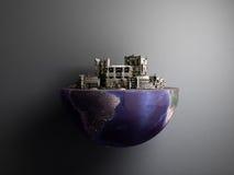 La ville d'apocalypse dans la moitié du concept 3d d'apocalypse de cul de planète ren Photos libres de droits