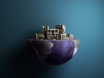 La ville d'apocalypse dans la moitié du concept 3d d'apocalypse de cul de planète ren Image stock