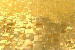 La ville d'or d'idée riche de concept de richesse au coucher du soleil rayonne le fond abstrait de l'espace rendu de l'illustrati illustration stock
