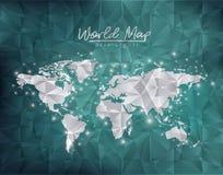 La ville de carte du monde s'allume à l'arrière-plan vert dégradé et de polygone de forme illustration de vecteur