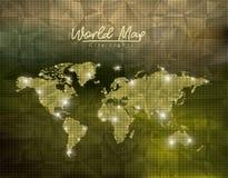 La ville de carte du monde s'allume à l'arrière-plan vert de forme de polygone illustration libre de droits