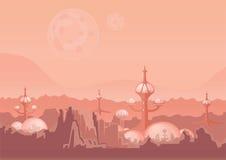 La ville de l'avenir, une colonie de l'espace Règlement humain avec les bâtiments futuristes sur Mars Illustration de vecteur illustration stock