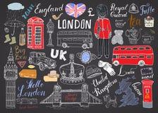 La ville de Londres gribouille la collection d'éléments Ensemble tiré par la main avec, pont de tour, couronne, grand Ben, garde  Image libre de droits