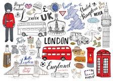 La ville de Londres gribouille la collection d'éléments Ensemble tiré par la main avec, pont de tour, couronne, grand Ben, garde  Photo libre de droits