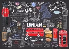 La ville de Londres gribouille la collection d'éléments Ensemble tiré par la main avec, pont de tour, couronne, grand Ben, garde  Image stock