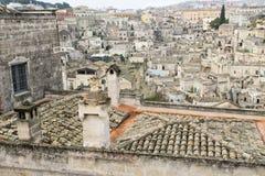 La ville de Matera en Italie du sud Images libres de droits