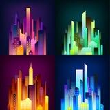 La ville de nuit a illuminé l'affiche de 4 icônes Image stock