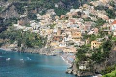 La ville de Positano avec son littoral, côte d'Amalfi, Italie images libres de droits