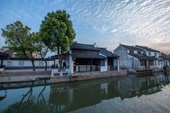 La ville de Suzhou, la ville antique du Lu jette un pont sur des personnes Photo libre de droits