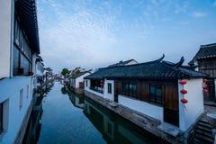 La ville de Suzhou, la ville antique du Lu jette un pont sur des personnes Photos libres de droits