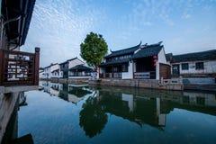 La ville de Suzhou, la ville antique du Lu jette un pont sur des personnes Image libre de droits
