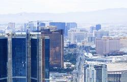 La ville de vue supérieure d'hôtels et de casinos de Las Vegas aménagent en parc pendant le clou Images libres de droits