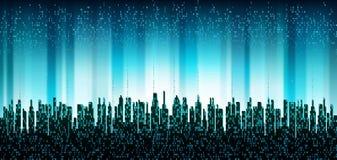 La ville en ligne La ville numérique futuriste abstraite, nuage s'est reliée, fond d'horizon illustration de vecteur