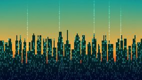 La ville en ligne La ville numérique futuriste abstraite, nuage s'est reliée, fond de pointe, boucle sans couture