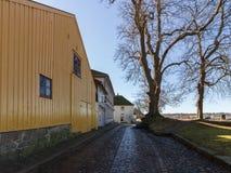 La la ville enrichie, la vieille ville dans Fredrikstad, Norvège Photographie stock