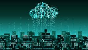 La ville futée futuriste abstraite s'est reliée au stockage de nuage de grandes données, pluie binaire - train de données de donn illustration de vecteur
