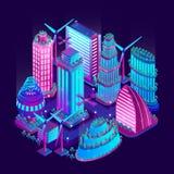 La ville futuriste de nuit est illuminée par les lampes au néon dans le style isométrique Illustration de vecteur images libres de droits