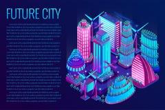 La ville futuriste de nuit est illumin?e par les lampes au n?on dans le style isom?trique Illustration de vecteur image stock