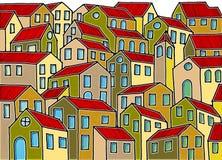 La ville imaginaire a inspiré par les vieilles villes toscanes - le ` m d'I que le détenteur du copyright des images de graffiti  Image stock