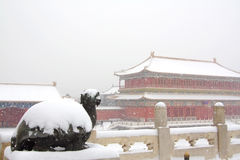 La ville interdite dans la neige Photographie stock