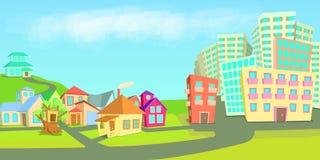 La ville loge les types horizontaux de bannière, style de bande dessinée illustration stock