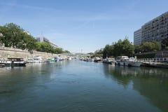 La Villette basin on Canal Saint-Martin, Paris Royalty Free Stock Images