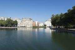 La Villette basin on Canal Saint-Martin, Paris Stock Image