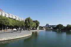 La Villette basin on Canal Saint-Martin, Paris Stock Photo