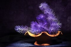 La viola fiorisce la composizione in lerciume fotografie stock